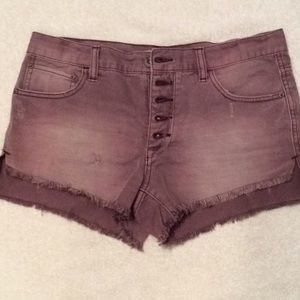 Free People Button Fly Dusty Purple Shorts 27